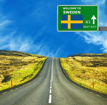 Sweden road sign against clear blue sky