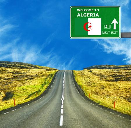 algeria: Algeria  road sign against clear blue sky