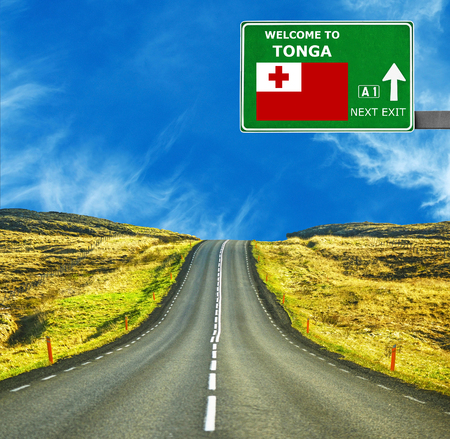 Tonga road sign against clear blue sky