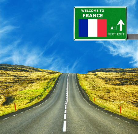 France road sign against clear blue sky Stock Photo