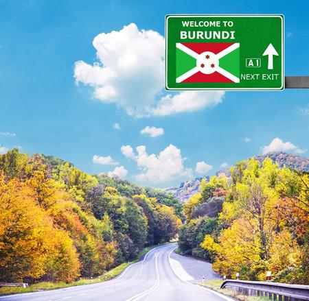 burundi: Burundi road sign against clear blue sky