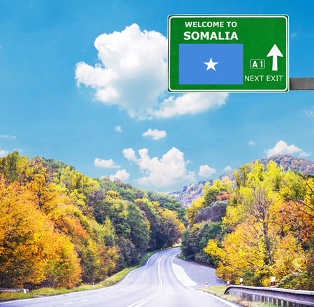 Somalia road sign against clear blue sky Stock Photo