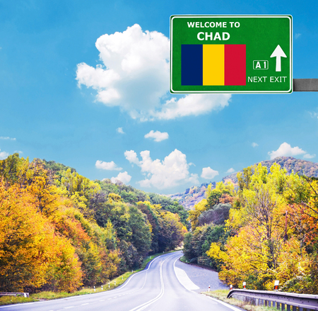 Chad road sign against clear blue sky