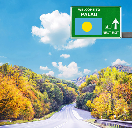 Palau road sign against clear blue sky