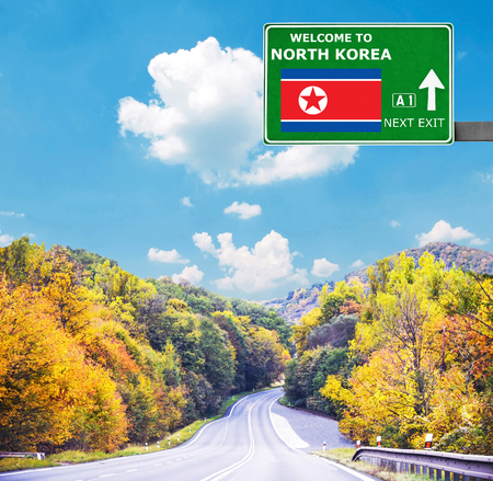 North Korea road sign against clear blue sky Stock Photo