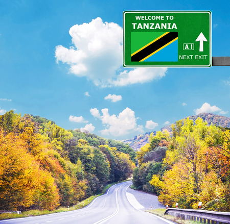 Tanzania road sign against clear blue sky