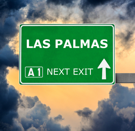 las palmas: LAS PALMAS road sign against clear blue sky Stock Photo