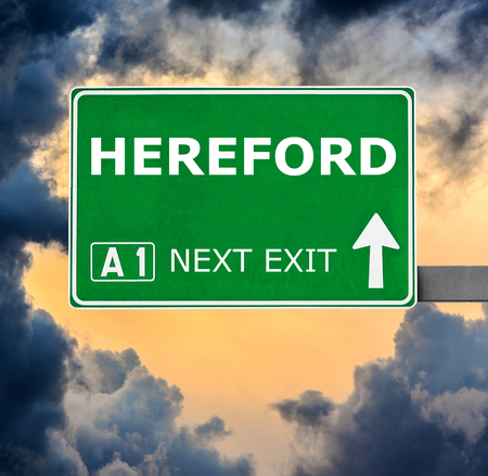 hereford: HEREFORD road sign against clear blue sky