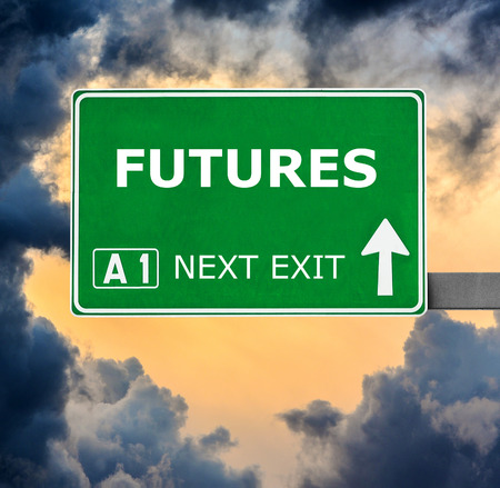 futures: FUTURES road sign against clear blue sky