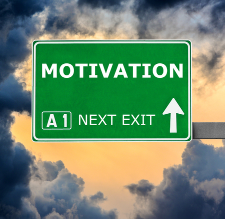 inducement: MOTIVATION road sign against clear blue sky