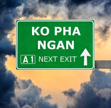 ko: KO PHA NGAN road sign against clear blue sky