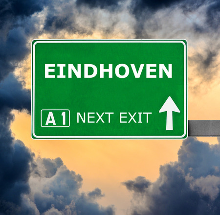 eindhoven: EINDHOVEN road sign against clear blue sky