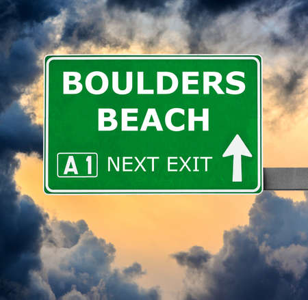 BOULDERS BEACH road sign against clear blue sky