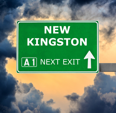 kingston: NEW KINGSTON road sign against clear blue sky