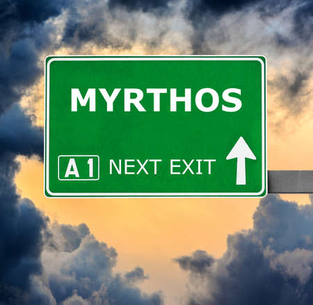 chill out: MYRTHOS road sign against clear blue sky