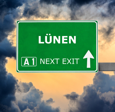 nen: LUNEN road sign against clear blue sky Stock Photo