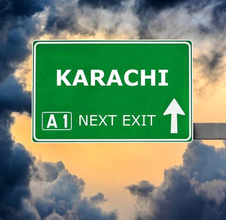 karachi: KARACHI road sign against clear blue sky