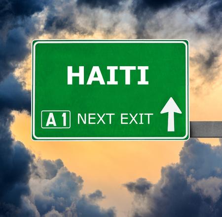 haiti: HAITI road sign against clear blue sky Stock Photo