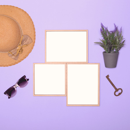 nostalgia: Nostalgia flat lay minimal design on lilac background Stock Photo