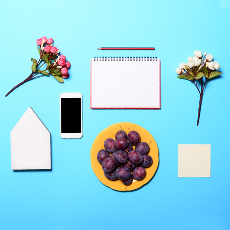 celphone: Writers dream items - Perfect day start  - Flat lay