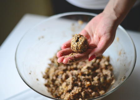 Woman hands making healthy biscuits  - Home made holliday cookies preparation set