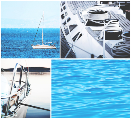 dinghies: Yacht collage - Yachting concept Stock Photo