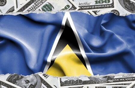 Financial concept with banknotes of US currency around national flag of Saint Lucia