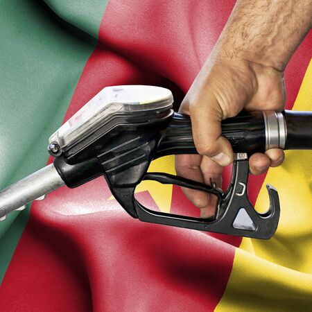 Gasoline consumption concept - Hand holding hose against flag of Cameroon