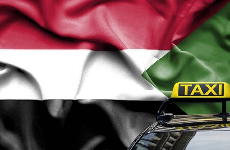Taxi service conceptual image in country of Sudan