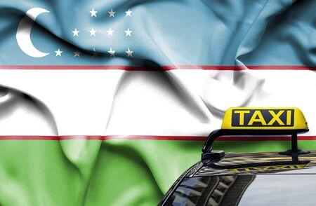 Taxi service conceptual image in country of Uzbekistan Zdjęcie Seryjne