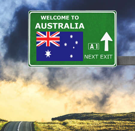 Australia road sign against clear blue sky