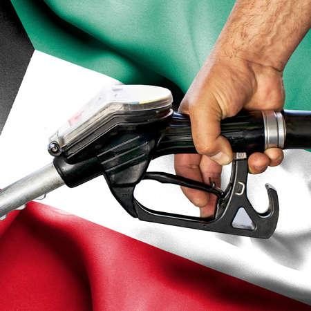 Gasoline consumption concept - Hand holding hose against flag of Kuwait