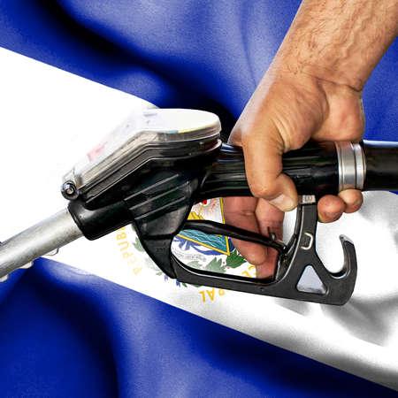 Gasoline consumption concept - Hand holding hose against flag of El Salvador