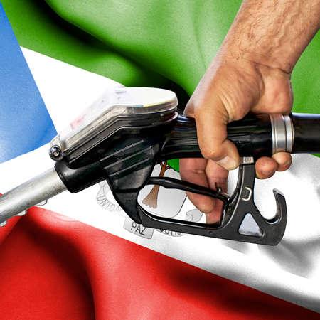 Gasoline consumption concept - Hand holding hose against flag of Equatorial Guinea