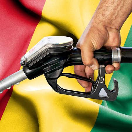 Gasoline consumption concept - Hand holding hose against flag of Guinea Foto de archivo