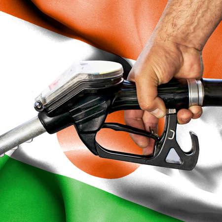 Gasoline consumption concept - Hand holding hose against flag of Niger Foto de archivo