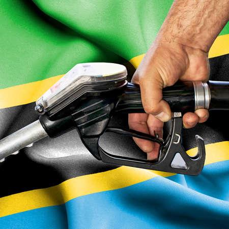 Gasoline consumption concept - Hand holding hose against flag of Tanzania Foto de archivo