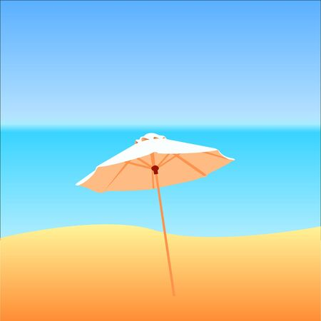 beach sea: Beach umbrella and sea Illustration