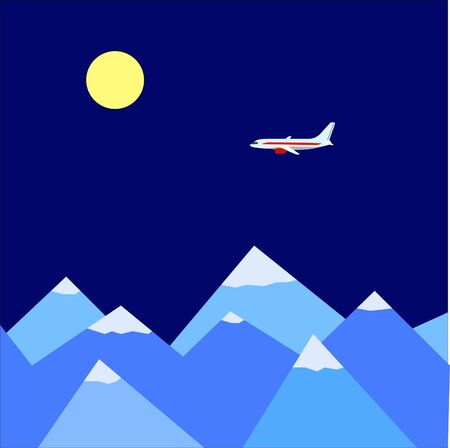 clambering: Flat mountains with plane Illustration