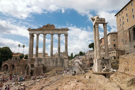 roma antigua: Foro de la antigua Roma - Italia.  Foto de archivo