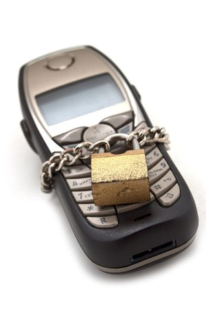 unaccessible: Blocked mobile phone with a chain and lock