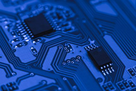 telecommunication equipment: Fragment of the electronic circuit - blue computer board with chips and components