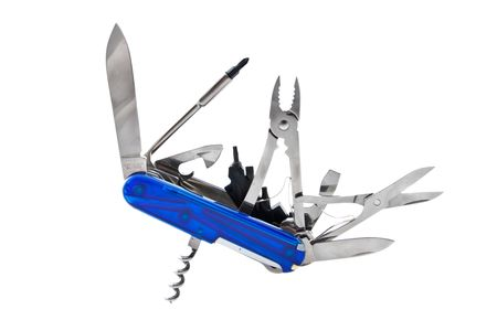 utility knife: Blue Swiss Penknife on a white background Stock Photo