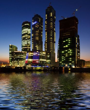 Modern skyscrapers business center in the night city Stock Photo - 5550408