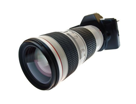 reflexes: DSLR camera with a telephoto lens on a white background