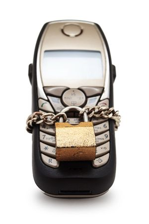Blocked mobile phone with a chain and lock Stock Photo - 5700547