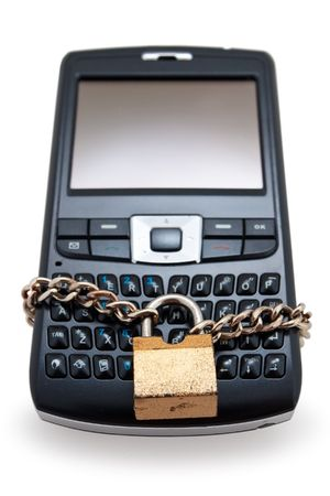 Blocked mobile phone with a chain and lock isolated