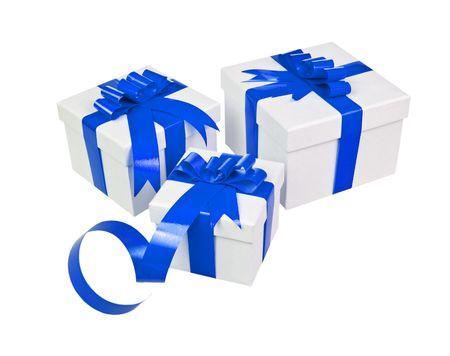 Beautiful white present gift box with blue ribbon photo