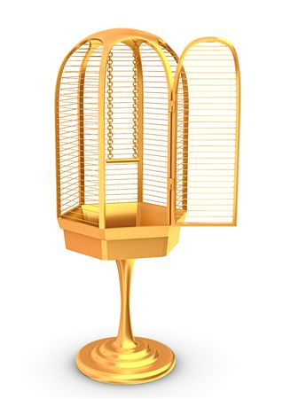 confined: 3d rendered golden cage isolated on white Stock Photo