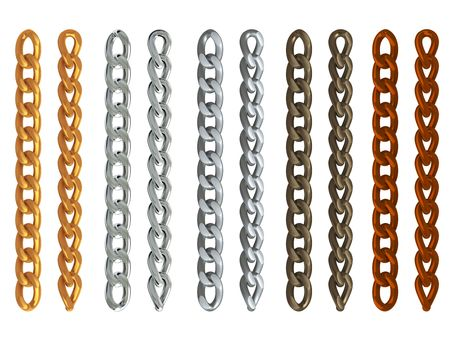 weakest: 3d rendered gold, aluminum, silver, copper and brown metal chains isolated on white